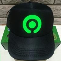 Topi Gojek Logo Baru - Trucker Hat Jaring - Hitam Polyflex - Murah