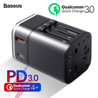 BASEUS REMOVABLE 2in1 Travel Charger Adapter 18W QC 3.0 UK US AU EU