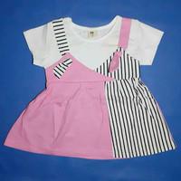 Dress anak import stripe