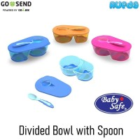 Baby Safe AP010 Divided Bowl with Spoon Mangkok Makan Bayi Bersekat