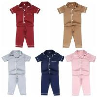 PIYAMA ANAK Satin Exclusive Silk Polos Baju Tidur Anak Cewek 1-9 Tahun