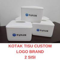 kotak tisu meja restoran dengan custom stiker desain logo brand anda