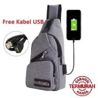 tas selempang kanvas pria/sling bag/tas slempang Cowok USB KANVAS #03