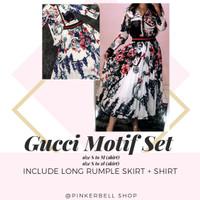 gucci motif set imported BKK (kemeja dan rok)