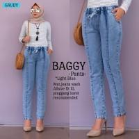Jeans Wanita Celana Wanita Baggy Pants Light Blue Pinggang Karet