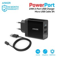 Anker power port 2 dual wall charger + micro USB 3ft