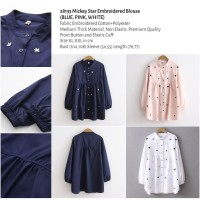 Mickey Star Embroidered Blouse (BLUE,PINK,WHITE size XL,XXL) -28133