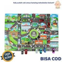 TokoDedee - Alas Karpet Mainan Gambar Jalanan Mobil Anak 83cmx58cm