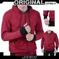 Jaket Sweater Hoodie Polos Maroon JEC Motif Roundhand Full Premium