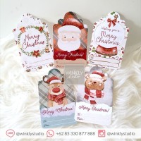 25pcs Hang Tag Natal Christmas Hangtag Kartu Ucapan Xmas Mini Label SF