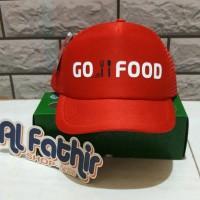 Topi Gojek Gofood - Kode TF010 - Trucker Hat Jaring - Merah Polyflex