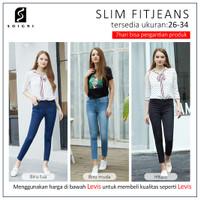 SOIGNI Celana Jeans Wanita JUMBO Stretch Celana Panjang High Waist