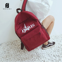 Soigni Backpack Kanvas Korea tahan air Ransel dengan port USB