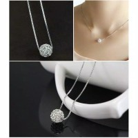 (27AN.ID)Kalung H16 Stainless Crystal Bentuk Bola Diamond / Titanum Cr