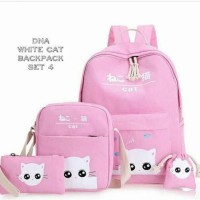White Cat Backpack 4 in 1