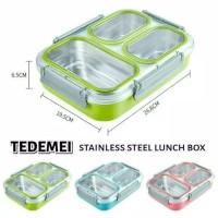 Tedemei Stainless Steel Lunch Box Kotak Makan Anti Tumpah Antar Sekat