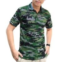 XL - KERAH HIJAU ARMY - Baju polo police loreng motif camo kemeja pria