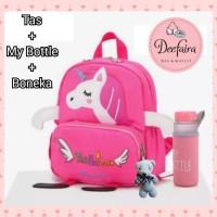 Tas Anak Perempuan Tas Backpack Sekolah Unicorn Set My Bottle Boneka