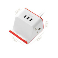 CHARGER WIRELESS STAND + 3 PORT USB SMART ID + 2 POWER SOCKET GS-FT02W - Merah