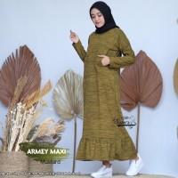 Baju Gamis Wanita Terbaru Maxi Armey Mustard