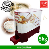 Rovega Tempat Beras Super Rice Box Rice Container Rice Wise 5KG Maroon