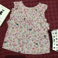 Preloved floral animal print top ruffle sleeve / atasan blouse branded