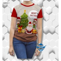 kaos santa natal - wanita dewasa-kaos viral - kaos fullprint customic