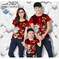 Kaos natal santa & deer kaos couple keluarga fullprint customic