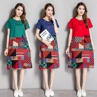 Gaun Longgar linen Wanita M-4XL Plus size dress Vintage Short sleeve p