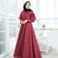Dress Pesta Maroon Glamour / Dress Kekinian