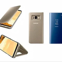 FLIP COVER SAMSUNG A8 2018 SMART CLEAR TRANSPARAN VIEW STANDING WALET