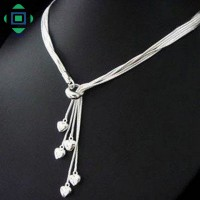 Kalung Sterling Silver 925 Dgn Liontin Rumbai Hati
