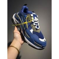 Sepatu Balenciaga Triple S Men Biru Sneakers Pria Premium Original