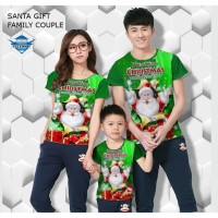 Kaos natal santa gift kaos couple keluarga fullprint customic