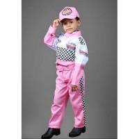 Kostum pembalap cewek -Baju profesi balap-Seragam balap-Seragam TK - 4-5 tahun