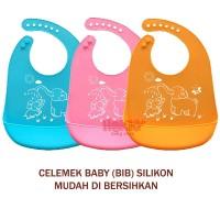 HK Celemek Makan Bayi Baby Bib Slaber Silikon Baby