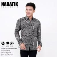 kemeja Batik Pria Lengan Panjang cirebon abu Murah berkualitas terbaru