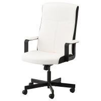 MILLBERGET Kursi kantor berlengan ketinggian bisa diatur kimstad putih