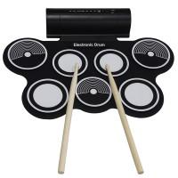 NEW KONIX Portable Roll Up USB MIDI Electronic Drum 7 Pads