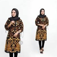 Baju Atasan Wanita Tunik Batik Merak Kembar Sogan - Batik IFA