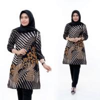 Baju Atasan Wanita Tunik Batik Bunga Cendrawasih Sogan - Batik IFA