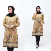 Baju Atasan Wanita Tunik Batik Taman Cendrawasih Sogan - Batik IFA