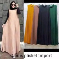 GAMIS PLISKET ALEXA SLEEVELESS LONG DRESS JERSEY PREMIUM (TANPA INNER)