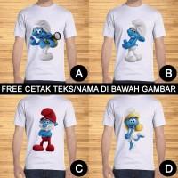 Kaos Dewasa Smurf Pria Wanita Kartun Karakter Custom Teks/Nama