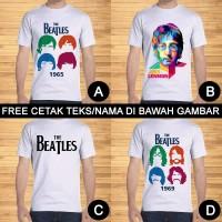 Kaos Dewasa The Beatles dan John Lennon Pria Wanita Custom Teks/Nama