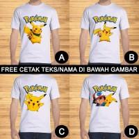 Kaos Dewasa Pokemon Go Pikachu Pria Wanita Kartun Custom Teks/Nama