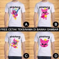 Kaos Dewasa Pinkfong Pria Wanita Kartun Karakter Custom Teks/Nama