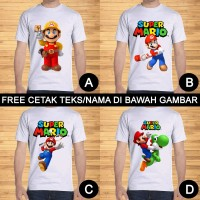 Kaos Dewasa Super Mario Bros dan Luigi Pria Wanita Custom Teks/Nama