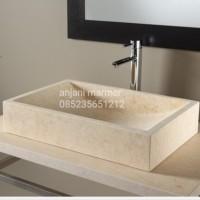 wastafel batu alam marmer putih 50cm