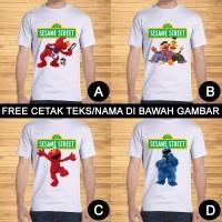 Kaos Dewasa Sesame Street Pria Wanita Kartun Karakter Custom Teks/Nama